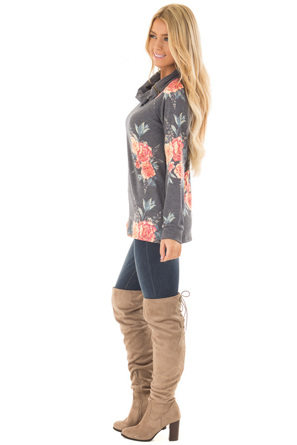 Charcoal Floral Print Top with Cowl Neck side full body