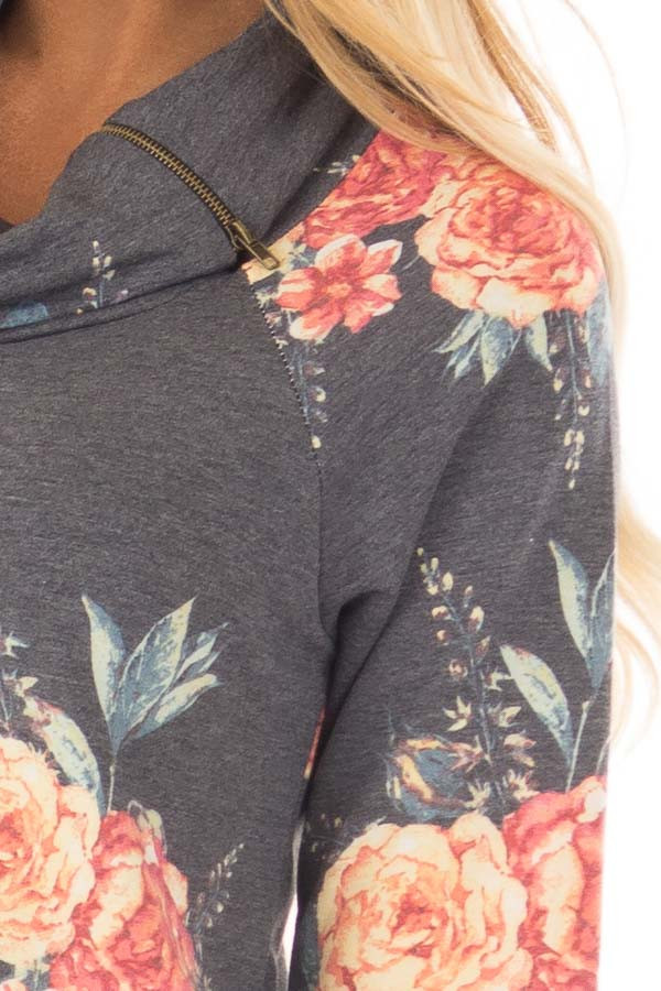 Charcoal Floral Print Top with Cowl Neck detail