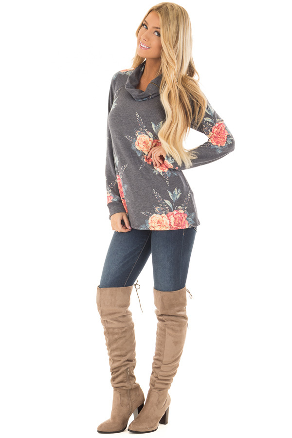 Charcoal Floral Print Top with Cowl Neck front full body