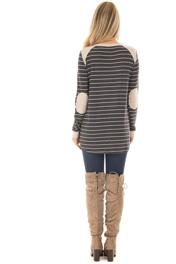 Charcoal Striped Top with Taupe Contrast Details back full body