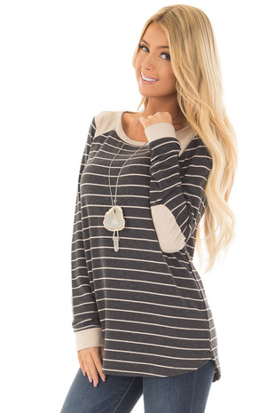 Charcoal Striped Top with Taupe Contrast Details front close up