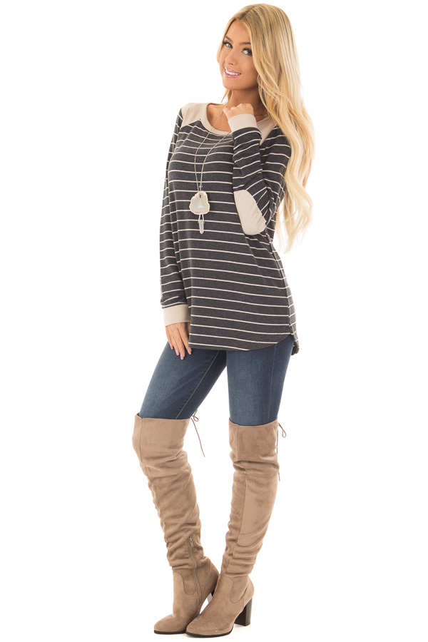 Charcoal Striped Top with Taupe Contrast Details front full body