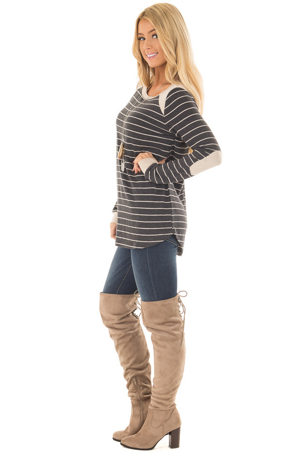 Charcoal Striped Top with Taupe Contrast Details side full body
