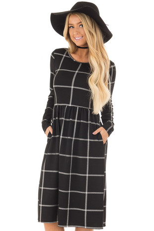 Black Plaid High Waist Flare Midi Dress with Pockets front close up