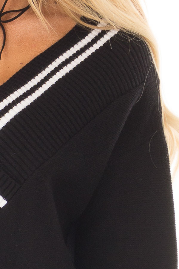 Black and White Varsity Stripe V Neck Sweater detail