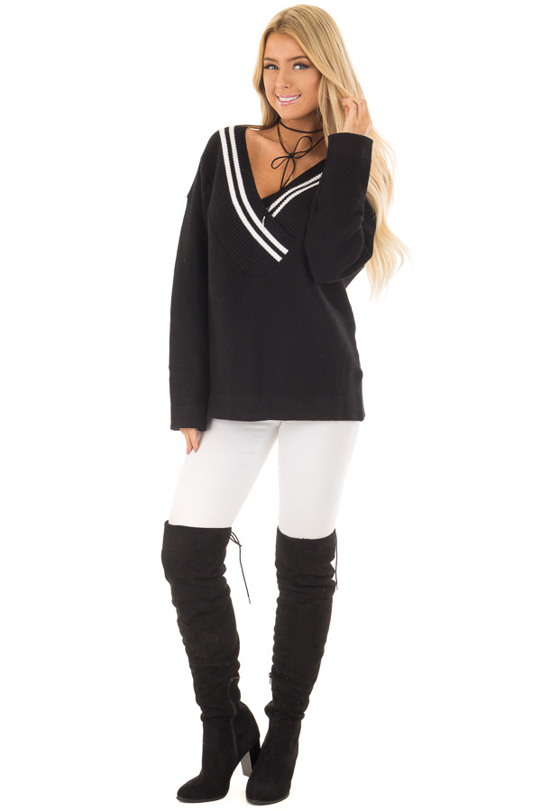 Black and White Varsity Stripe V Neck Sweater front full body