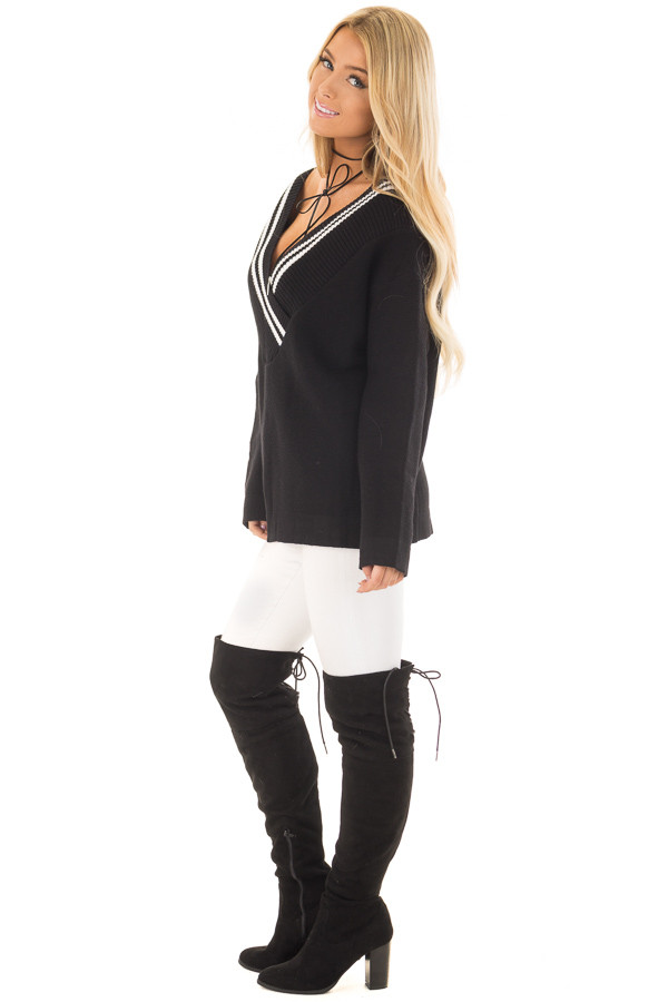 Black and White Varsity Stripe V Neck Sweater side full body