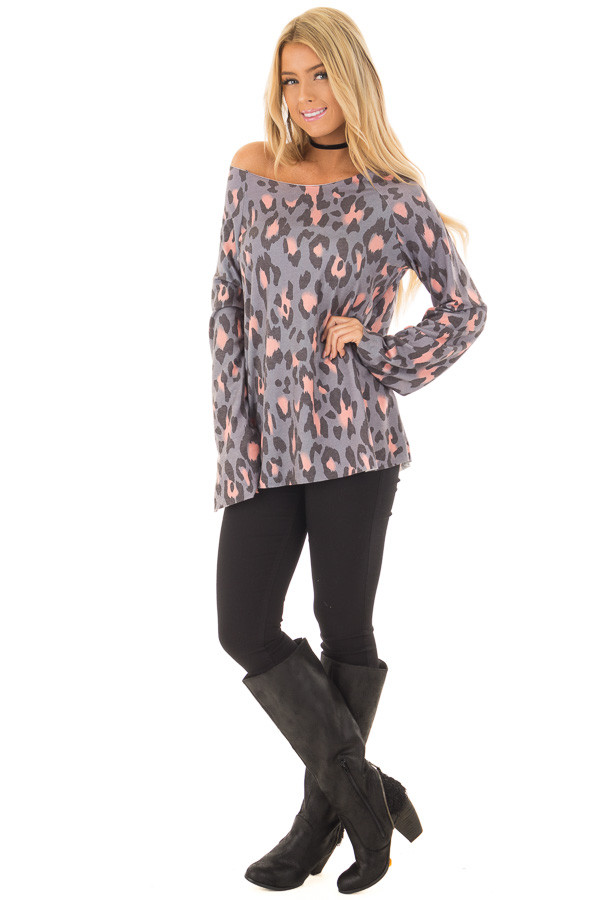 Steel Grey and Peach Leopard Print Off the Shoulder Top front full body