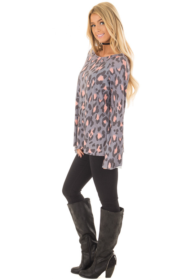 Steel Grey and Peach Leopard Print Off the Shoulder Top side full body