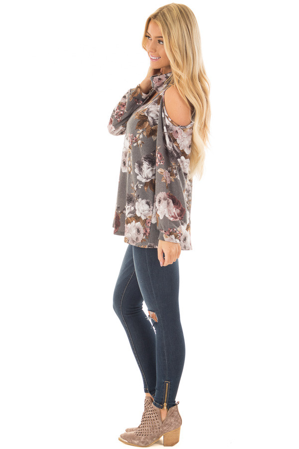 Cloud Grey Floral Print Cut Out High Neck Cold Shoulder Top side full body