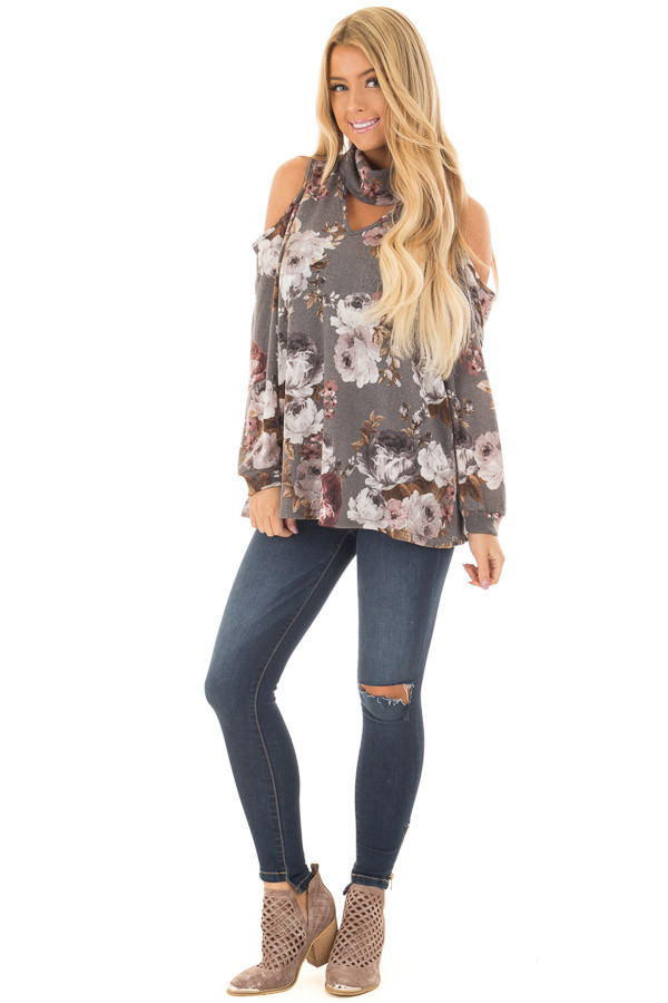 Cloud Grey Floral Print Cut Out High Neck Cold Shoulder Top front full body