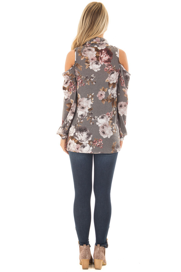 Cloud Grey Floral Print Cut Out High Neck Cold Shoulder Top back full body