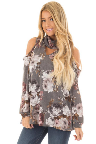 Cloud Grey Floral Print Cut Out High Neck Cold Shoulder Top front close up