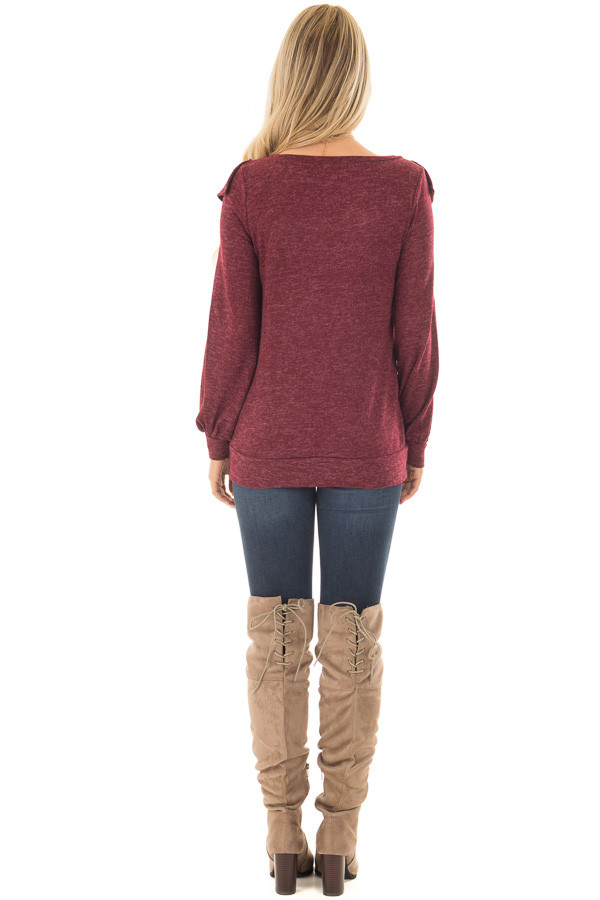 Burgundy Two Tone Sweater with Front Ruffle Details back full body