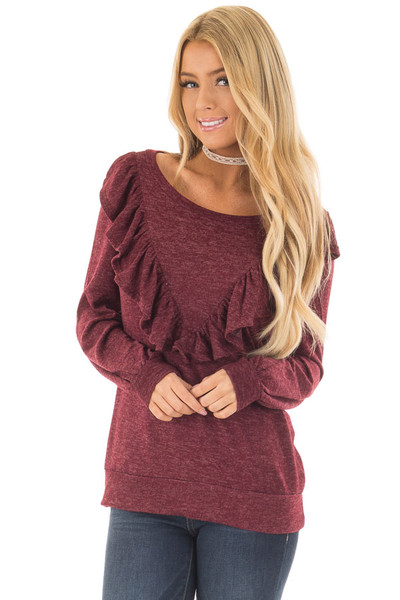 Burgundy Two Tone Sweater with Front Ruffle Details front close up