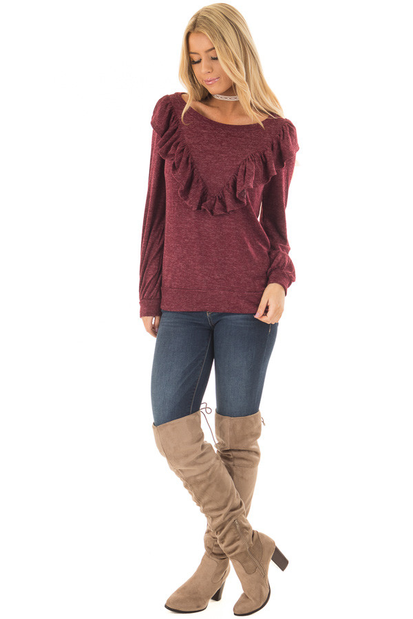 Burgundy Two Tone Sweater with Front Ruffle Details front full body