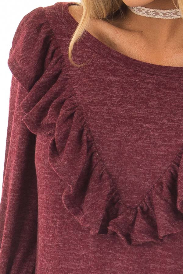 Burgundy Two Tone Sweater with Front Ruffle Details detail