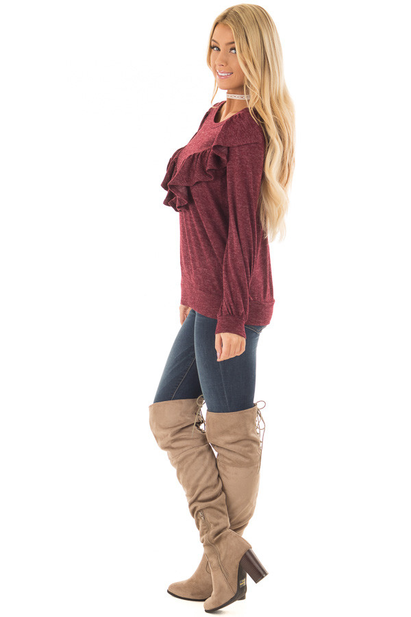 Burgundy Two Tone Sweater with Front Ruffle Details side full body
