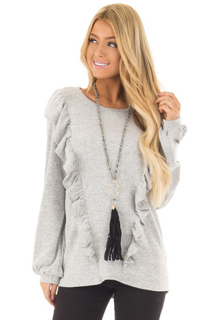 Lunar Grey Two Tone Soft Sweater with Ruffle Details front close up