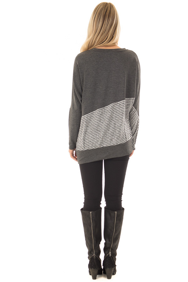 Charcoal Long Sleeve Top with Striped Diagonal Contrast back full body