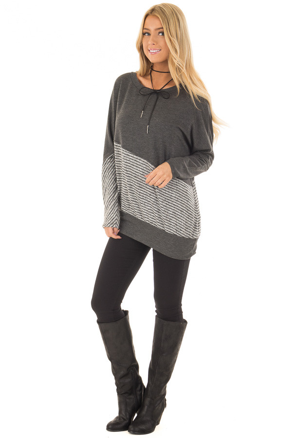 Charcoal Long Sleeve Top with Striped Diagonal Contrast front full body
