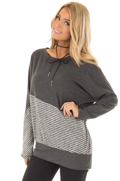 Charcoal Long Sleeve Top with Striped Diagonal Contrast front close up