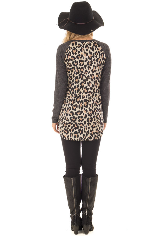 Charcoal Top with Mocha Leopard Print Contrast back full body