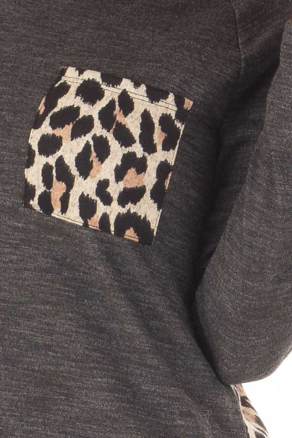 Charcoal Top with Mocha Leopard Print Contrast detail