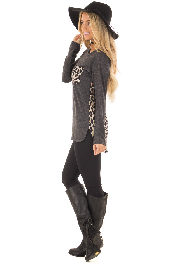 Charcoal Top with Mocha Leopard Print Contrast side full body