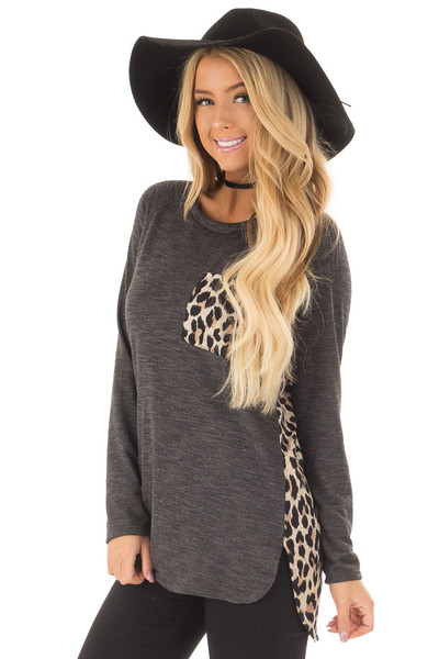 Charcoal Top with Mocha Leopard Print Contrast front close up