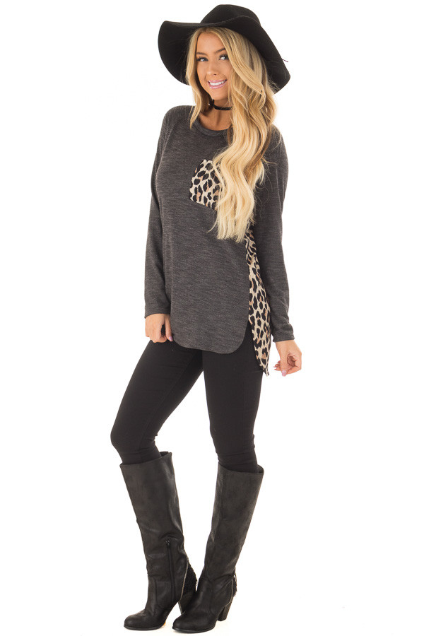 Charcoal Top with Mocha Leopard Print Contrast front full body