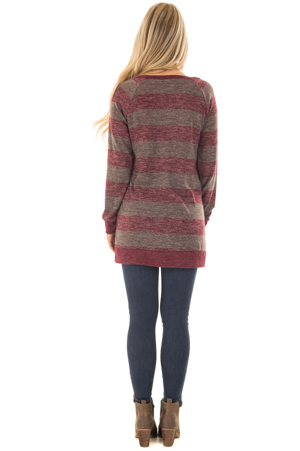 Burgundy Two Tone Striped Top with Hem Detail back full body