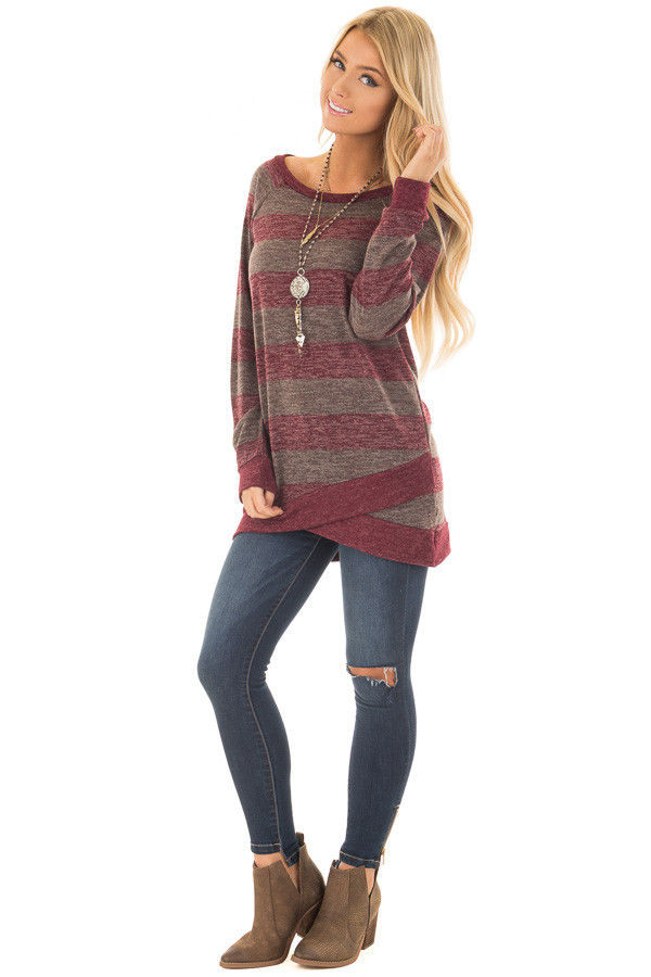 Burgundy Two Tone Striped Top with Hem Detail front full body