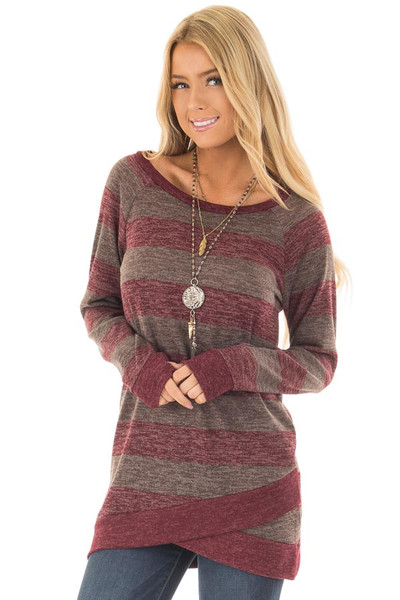 Burgundy Two Tone Striped Top with Hem Detail front close up
