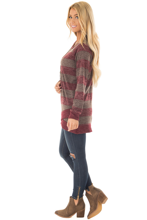 Burgundy Two Tone Striped Top with Hem Detail side full body