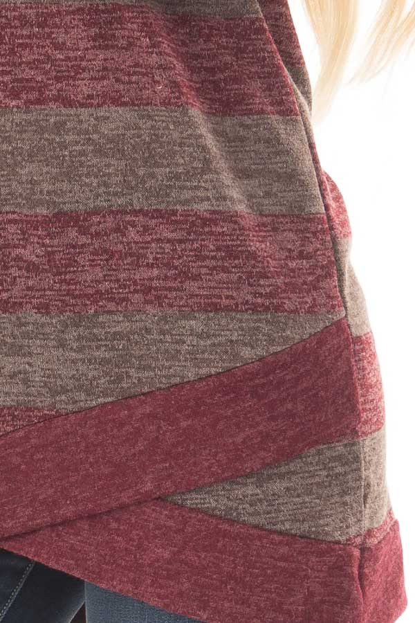 Burgundy Two Tone Striped Top with Hem Detail detail