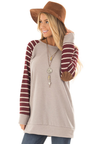 Mocha Top with Burgundy Striped Raglan Sleeves front close up