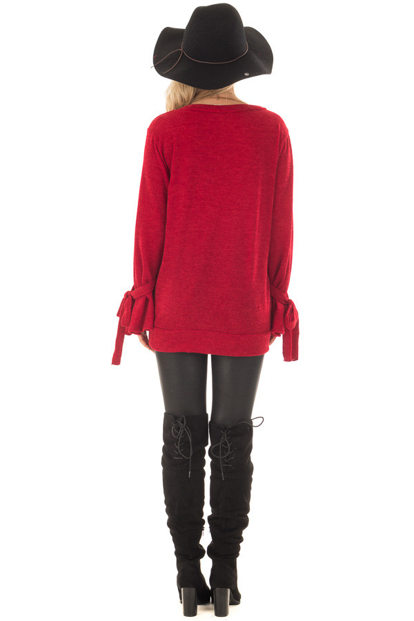 Deep Red Knit Sweater with Bell Sleeves and Tie Details back full body