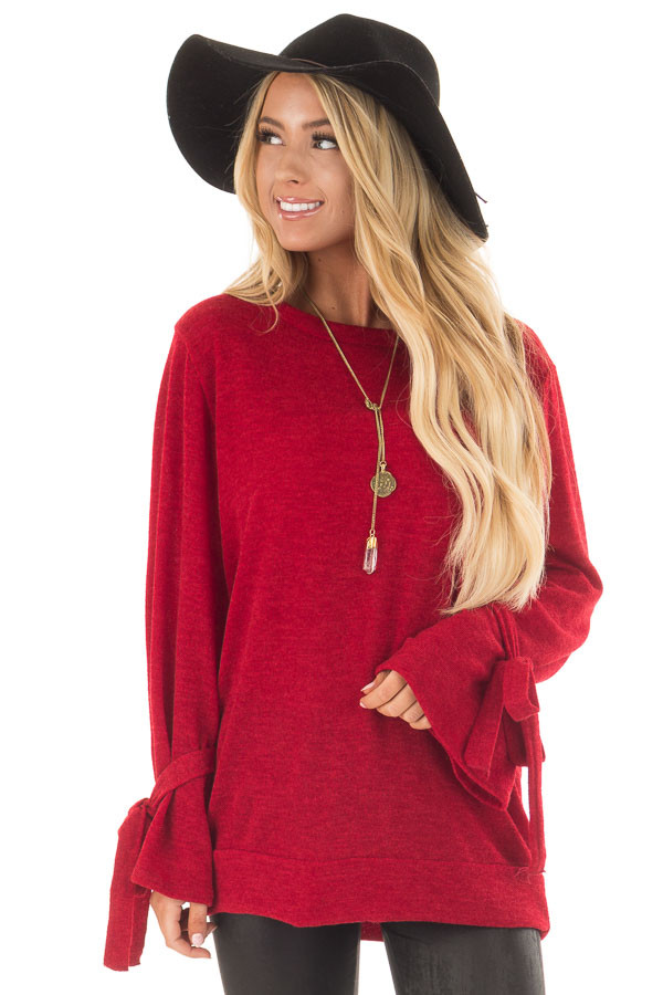 Deep Red Knit Sweater with Bell Sleeves and Tie Details - Lime ...