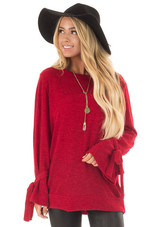 Deep Red Knit Sweater with Bell Sleeves and Tie Details front close up