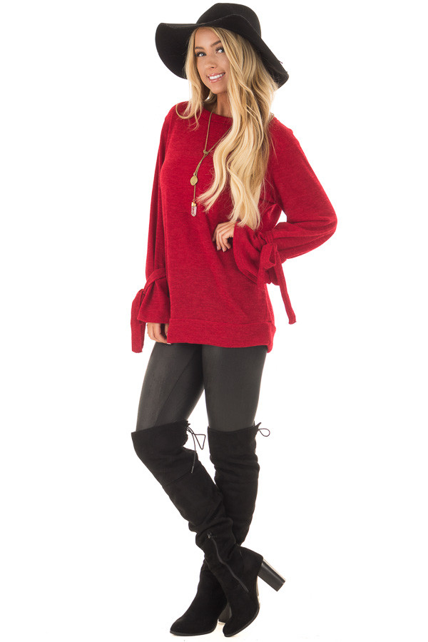 Deep Red Knit Sweater with Bell Sleeves and Tie Details front full body