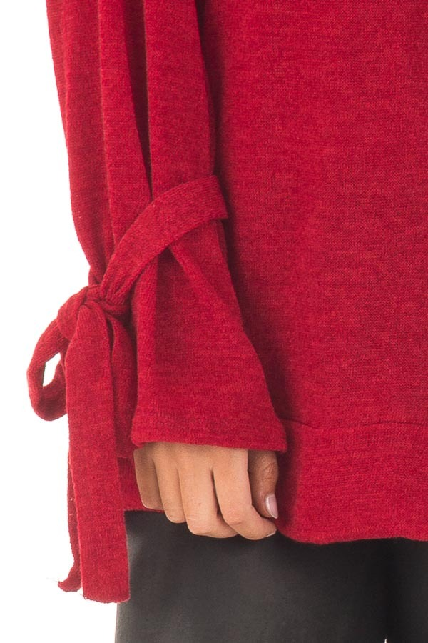 Deep Red Knit Sweater with Bell Sleeves and Tie Details detail