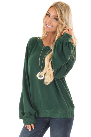 Hunter Green Bubble Sleeve Sweater front close up