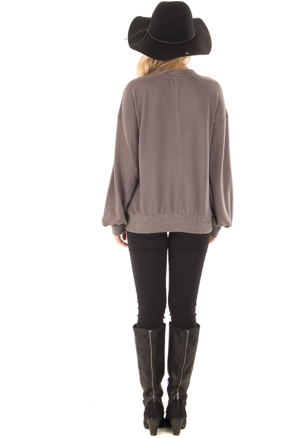Charcoal Bubble Sleeve Sweater back full body
