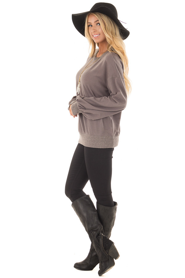 Charcoal Bubble Sleeve Sweater side full body