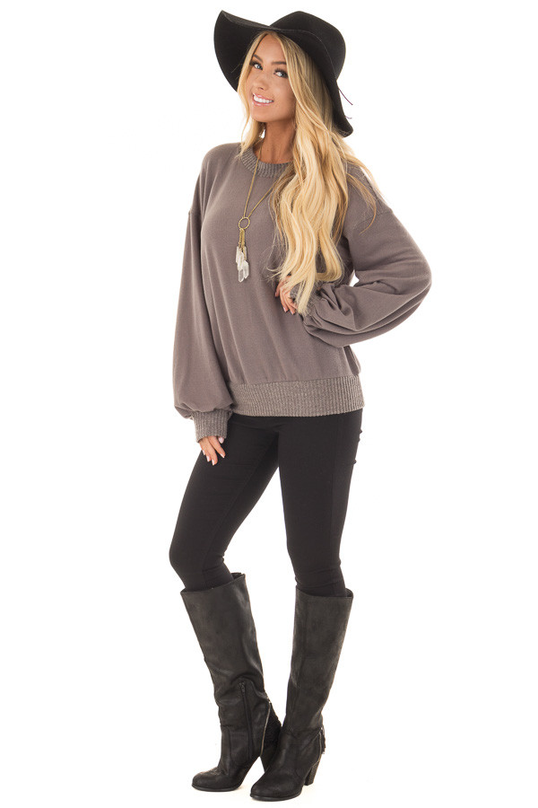 Charcoal Bubble Sleeve Sweater front full body