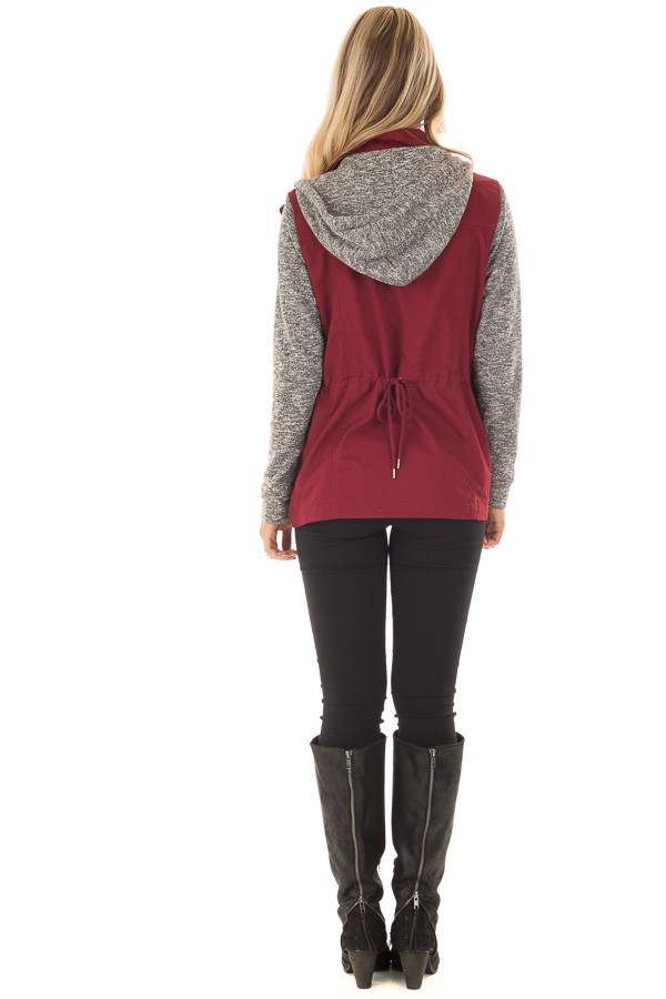 Burgundy Military Jacket with Heather Grey Two Tone Contrast back full body