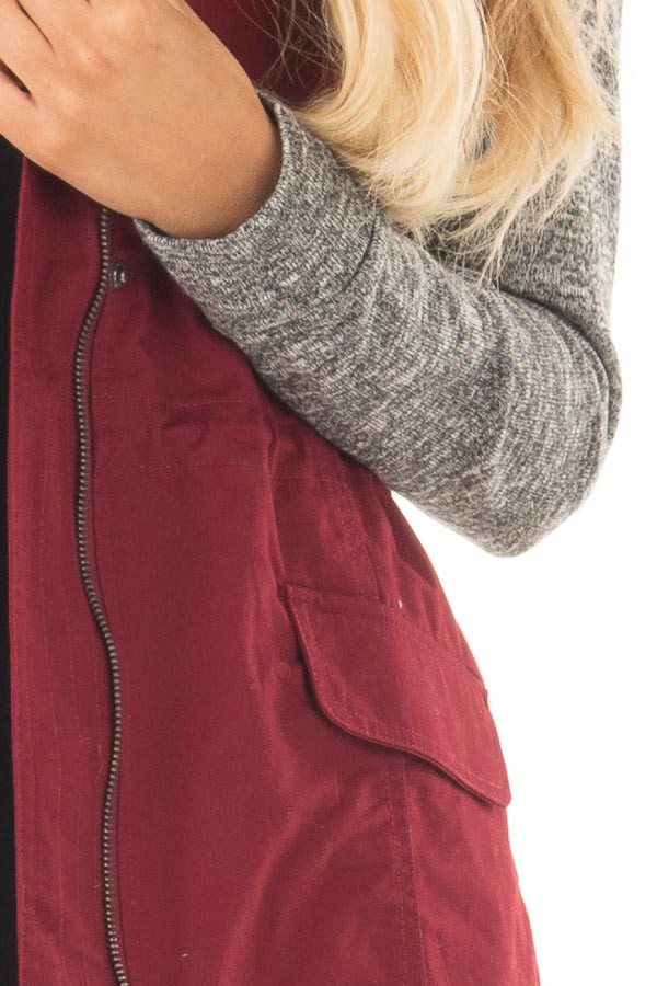 Burgundy Military Jacket with Heather Grey Two Tone Contrast detail