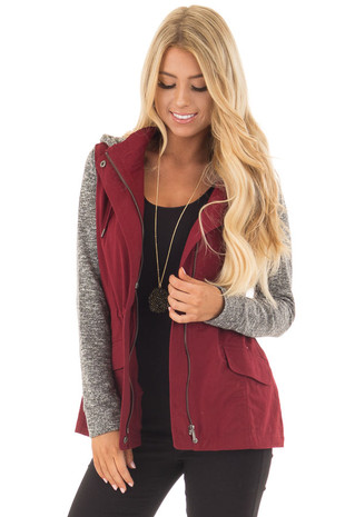 Burgundy Military Jacket with Heather Grey Two Tone Contrast front close up