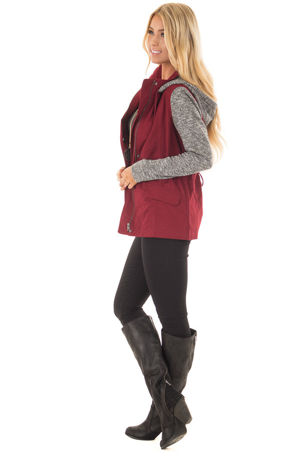 Burgundy Military Jacket with Heather Grey Two Tone Contrast side full body